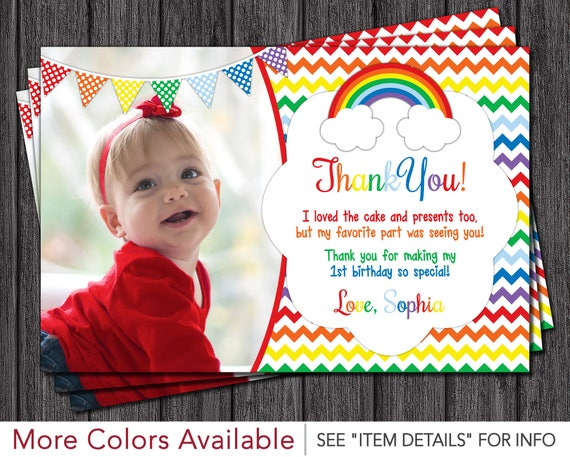 Rainbow thank you card rainbow birthday thank you cards like this item bookmarktalkfo Image collections