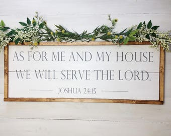 As for me and my house we will serve the lord wood sign, joshua 24:15 wood sign, statement piece sign, neutral decor, farmhouse wood signs