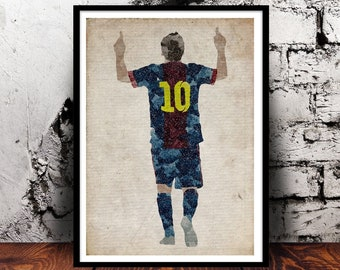 Football Lionel Messi soccer FC Barcelona 10 sport world cup argentina fifa UEFA barca A4 watercolour print