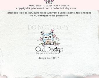 1211-7    owl logo, logo branding,  boutique logo, business branding, business logo design, cute owl, baby owl, owl design, owl art,