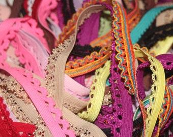 "LOT 20 yards RANDOM Grab Bag picot edged lingerie sewing elastic 1/2"" 3/8"" wide"