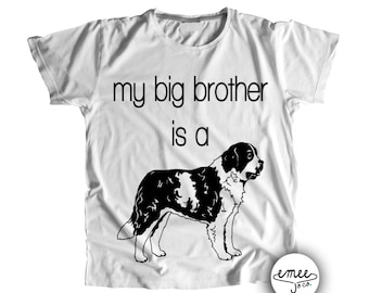 St Bernand Baby Clothes, Dog Baby Clothes, Dog and Baby, Dog Pregnancy Reveal, Big Brother Saint Bernand, Big Brother Dog, St Bernard Shirt