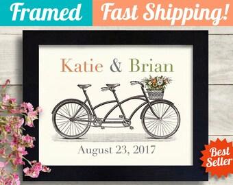 Personalized Wedding Gift Engagement Gifts for Couple, Boho Wedding Decor Housewarming Gift Bicycle Art Print Travel Couple Adventure Awaits