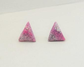 Grey and Pink Triangle Earrings, Geometric Stud Earrings, Modern Earrings, Statement Earrings, Polymer Clay Earrings, Unique Earrings