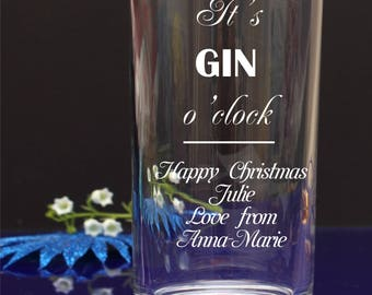 Personalised Christmas It's GIN o'clock Hiball mixer glass. Add your own fishes, message. Gift,Present by njevgenijs48