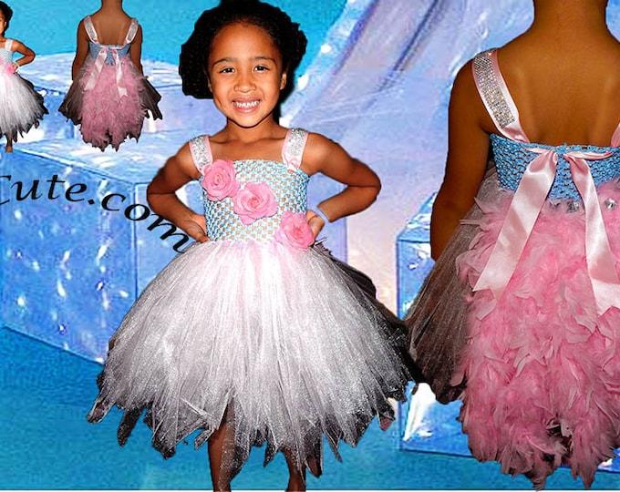 Feather Bustle Pink Princess Tutu Dress