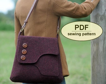 Sewing pattern to make the Saxted Green Satchel - PDF pattern INSTANT DOWNLOAD messenger style bag