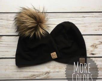 Beanie // Pom beanie // faux fur pom beanie // pom hat // gender neutral // faux fur hat // gift idea // baby-adult