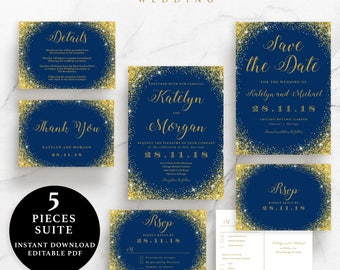 Navy Blue and Gold Sparkling Wedding Suite, Invitation, Save the Date, RSVP, Thank You Card, Details Card,Instant Download Printable,EWSU008