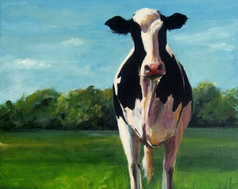 Cow Painting - Sophia - Paper Giclee Print of an original painting by Cari Humphry