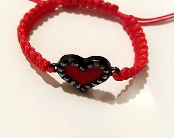 Red Crystal Heart Bracelet Variations on sizes Adults/Kids