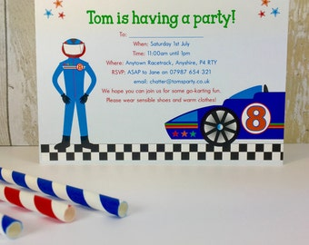 Pack of 16 Racing Car Go Kart Personalised Party Invites or Thank You Cards