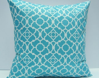 Aqua Geometric Pillow Cover, Aqua Throw Pillow Cover, Turquoise Blue Pillow Cover, 18x18 Inch Cushion