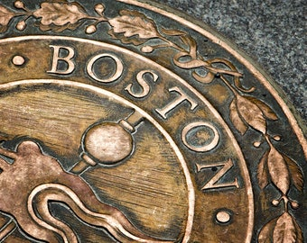 Boston Photograph, Freedom Trail, New England Art, Bronze Plaque, Rustic Decor, Urban Art, Historic, Landmark, Print or Canvas Wrap - Boston