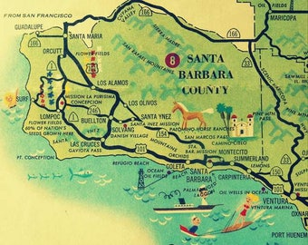 Santa Barbara Map, Travel Gift, California Gift, Vintage Santa Barbara County map, Las Cruces Ventura, Santa Cruz Island Ca illustrated map