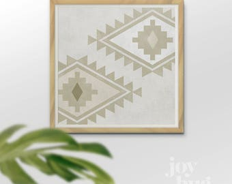 "Aztec Diamonds design downloadable print in sand and white, 16x16"" (other sizes and colors available)"