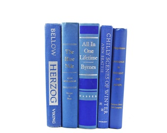 Sapphire BLue Books, Decorative Books, Wedding Centerpiece, French BLue Book Lover, Old Book Set, Book Collection, HOme Book Decor