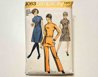 Simplicity Vintage Sewing Pattern 9063 Size 12 Misses' Dress or Tunic and Pants 1970