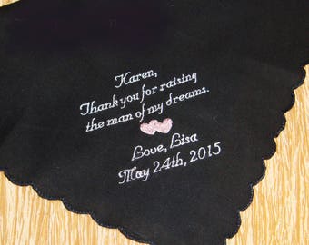Personalized Mother of the Groom Handkerchief, Thank You For Raising The Man Of My Dreams - Wedding Day Keepsake - Thread Born Memories