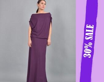 Purple Dress,Women Dress, Party dress, Asymmetric dress, Maxi party dress, A line Dress, Loose Dress, Evening Dress, UrbanMood UM-217-VL