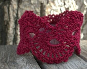 SALE! 10% off! Red crochet bracelet