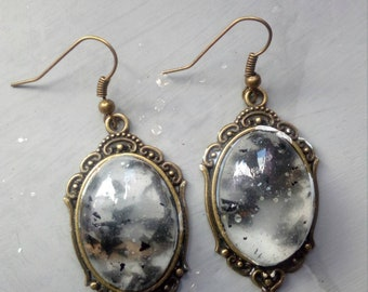 Resin ferns Bronze earrings, gothic jewelry, gothic bronze earrings with fern Ash Witch