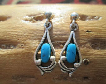 Turquoise and Sterling Silver Post Dangle Earrings