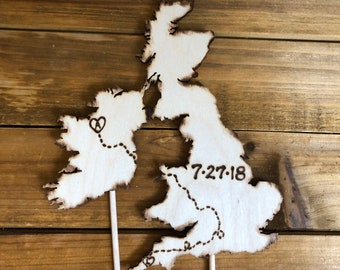 Long Distance Relationship Custom wedding cake toppers *adjoining Countries Travel theme transplants Wood Rustic Country Map Vintage