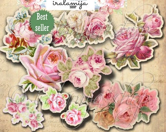 CUT OUT ROSeS Printable Digital Images / printable Roses / Scrapbook / Roses Printable / Vintage Roses /Cut Outs / Roses / Flowers / Rose