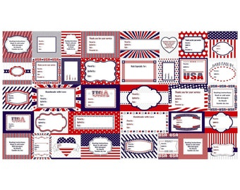 Red White And Starry Blue Quilt Labels 23 x 44 in Cotton Fabri By Studio E