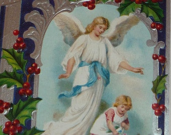 Pretty Angel Watching over Little Girl Art Nouveau Antique Postcard
