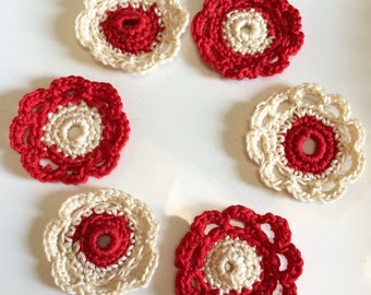 6 Crochet Cotton Flowers,  Red , Cream, Holiday Decorations, stocking decor, Scrapbooking, baby clothes