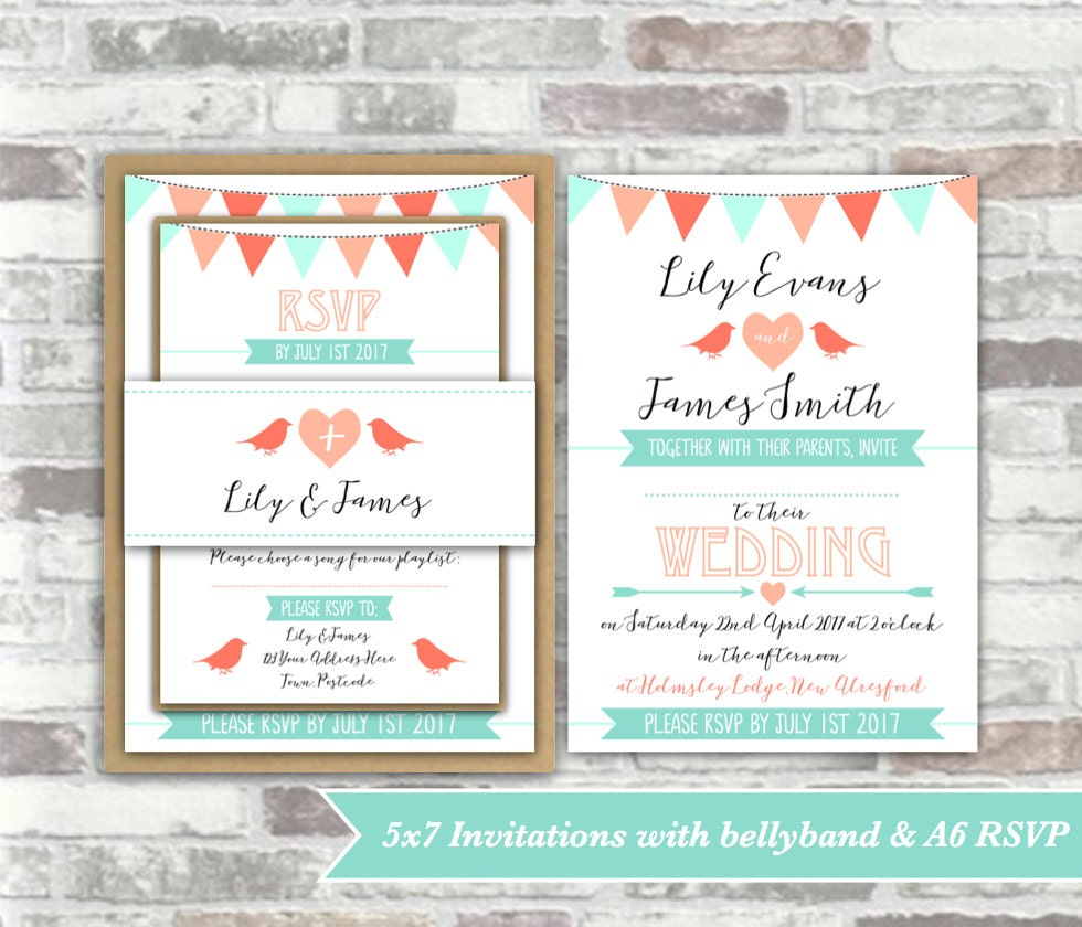 PRINTABLE Print your own personalised WEDDING invitation BUNDLE ...