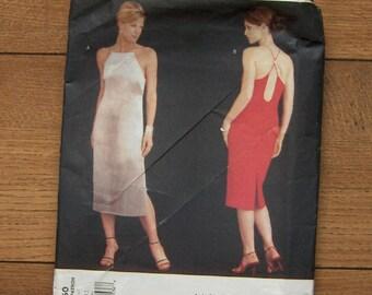 2001 vogue pattern 2550 misses women close fitting straight dress side zipper  sz 8-10-12  uncut envelope & instruction sheet cut marks