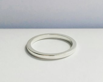 Minimalist Custom 14K Gold band. Solid Gold stacking ring. Sterling Silver wedding band. 14K Gold wedding band. Custom Gold Wedding Ring.