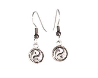Yin Yang Earrings, Yin Yang Jewelry, Earrings, Small Silver, Dangle Earrings, Yin Yang Earring, Zen Earrings, Hypoallergenic, Clip Ons, Yoga