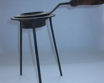 MCM Mid-Century Modern Wrought Iron and Brass Sterno Stand/Candle Holder