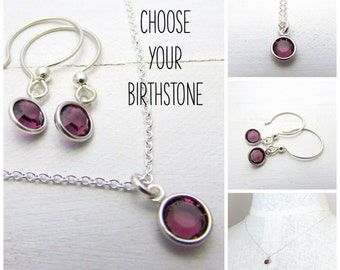 Birthstone Necklace and Earring Set in Sterling Silver, Bezel Set Swarovski Crystal Birthstone Charms, Birthstone Birthday Gift, Eriadesigns