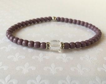 Beaded Bracelet, Stacking Bracelets, Crystal Bracelet, Layering Bracelets, Czech Glass Lilac
