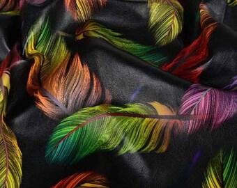 Feather PU Digital Print Fabric Black/Multi , Soft Leatherette