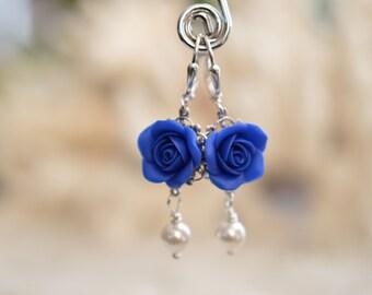 Royal Blue Rose Earrings, Royal Blue Flower Earrings, Bridesmaid Earrings, Deep blue Flower Earrings.