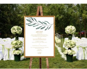 Wedding Menu Sign, Greenery Wedding Menu Template, Olive Branch Wedding Menu Printable Template, Editable Wedding Menu Sign