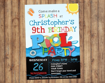 Birthday Pool Party Invitation, Pool Party Birthday Invitation, Pool Party, Self Editable PDF, Instant Download, Boys Invitation, Any Age