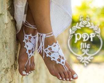 Crochet barefoot sandals PATTERN beach wedding DIY gift Tutorial Barefoot shoes Foot jewelry Anklet Footless sandals Toe thongs PDF