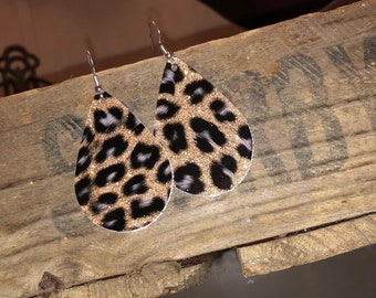 Sparkly Glitter Faux Leather Earrings