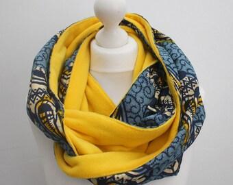 Rundschal, Wachs-Print-Schal, Ankara Schal, blau, Afrocentric Schal, afrikanischen print Schal, afrikanischen Winterschal, Schal, Geschenk für ihn