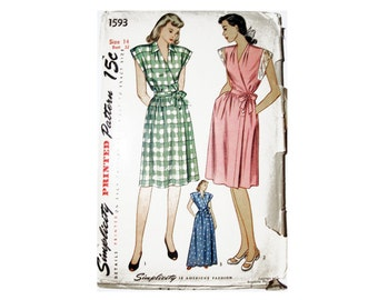 Simplicity 1593 Sewing Pattern, Dress, Size 14 Misses House Dress and House Coat Cut/Complete Create a True Vintage Dress or House Coat