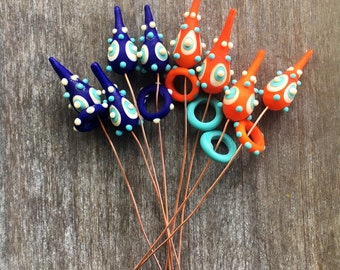 MTO: 1 (one) Handmade lampwork etched  headpins made on copper wire / etched glass / beading / wire wrap/ dots / beading