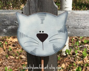 Cat lover gift, grey tabby cat, plant pokes, plant stick , hand painted, crazy cat lady gift idea, gift for gardeners, mother gift