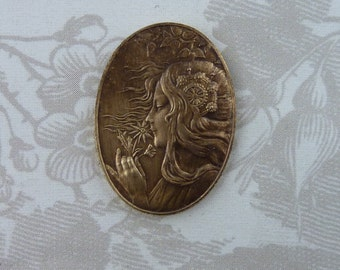 Vintage French Brass Stamping/Beautiful Gypsy Maiden(1 pc)Art Nouveau Goddess Stamping/French Goddess/Brass Stampings/French Findings/#98]
